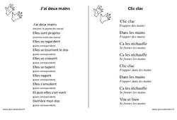Mains - Jeux de doigts - Fiches  : 1ere, 2eme, 3eme Maternelle - Cycle Fondamental