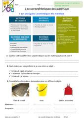Caractéristiques des matériaux - Exercices : 6eme Primaire