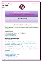 Harcèlement - Maltraitance - Fiche de préparation : 3eme Primaire