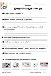 Concevoir un objet technique - Examen Evaluation - Bilan : 6eme Primaire