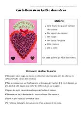 Carte coeur pour la fête des mères - Fête des mères : 3eme, 4eme, 5eme Primaire