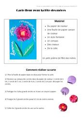 Carte fleur pour la fête des mères - Fête des mères : 3eme, 4eme, 5eme Primaire
