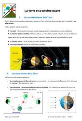 La Terre et le système solaire - Cours : 6eme Primaire