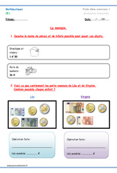 Monnaie - Exercices à imprimer : 2eme Primaire