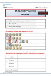 Monnaie - Examen Evaluation - Bilan à imprimer : 2eme Primaire