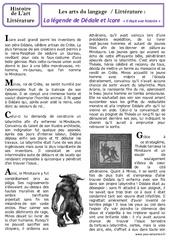 Légende de Dédale et Icare - Art du langage - Histoire des arts : 3eme, 4eme Primaire