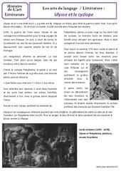 Ulysse et le cyclope - Art du langage - Histoire des arts : 3eme Primaire