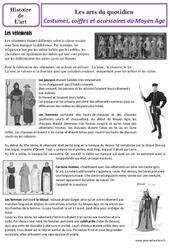 Costumes et coiffes  du Moyen Age - Arts du quotidien - Histoire des arts : 4eme Primaire
