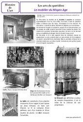 Mobilier du Moyen Age - Arts du quotidien - Histoire des arts : 4eme Primaire