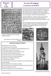 Chanson de Roland - Arts du langage - Histoire des arts : 4eme Primaire
