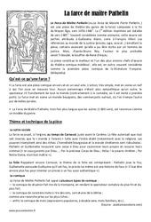 Farce de Maître Patelin - Arts du langage - Histoire des arts : 4eme Primaire