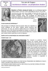 Architecture militaire - Fortifications Vauban - Arts de l'espace - Histoire des arts - Temps modernes : 4eme, 5eme Primaire