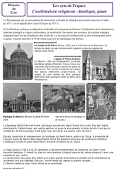 Architecture religieuse - Basiliques - Arts de l'espace - Histoire des arts - Temps modernes : 4eme, 5eme Primaire