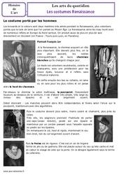 Costumes de la renaissance - Arts du quotidien - Temps modernes - Histoire des arts : 4eme, 5eme Primaire
