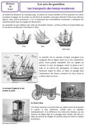Transports des temps modernes - Arts du quotidien - Histoire des arts : 4eme, 5eme Primaire