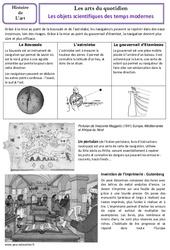 Objets scientifiques des temps modernes - Arts du quotidien - Histoire des arts : 4eme, 5eme Primaire