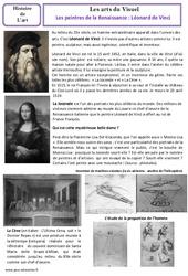 Léonard de Vinci XVe - Peintres de la Renaissance - Arts du visuel - Histoire des arts : 4eme, 5eme Primaire