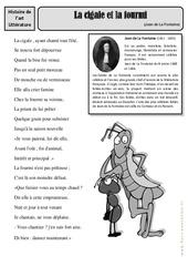 La cigale et la fourmi - Jean de La Fontaine - Arts du langage - Histoire des arts : 4eme, 5eme Primaire