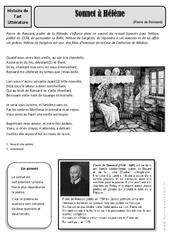 Sonnet à Hélène - Pierre de Ronsard - Arts du langage - Histoire des arts : 4eme, 5eme Primaire