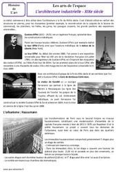 Architecture industrielle - XIXe siècle - Arts de l'espace - Histoire des arts : 4eme, 5eme Primaire