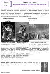 Néo - classicisme - XIXe siècle - Arts du visuel - Histoire des arts : 4eme, 5eme Primaire