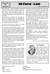 La peur - Nouvelle - Maupassant - Arts du langage - XIXe siècle - Histoire des arts : 4eme, 5eme Primaire