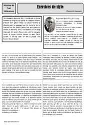 Exercices de style - Raymond Queneau - Arts du langage - Histoire des arts - XXème siècle : 5eme Primaire