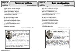 Art poétique - Raymond Queneau - Arts du langage - Histoire des arts - XXème siècle : 5eme Primaire