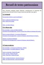 Textes patrimoniaux - Littérature - Lecture : 3eme, 4eme, 5eme Primaire