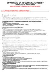 Compétences fin maternelle - Documents officiels : 1ere, 2eme, 3eme Maternelle - Cycle Fondamental
