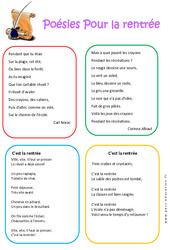 Poésies - Rentrée : 1ere, 2eme, 3eme Maternelle - Cycle Fondamental