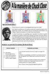 Chuck Close - Portraits - Arts visuels : 2eme, 3eme, 4eme, 5eme Primaire