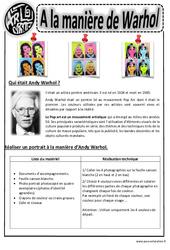 Andy Warhol - Portraits - Arts visuels : 2eme, 3eme, 4eme, 5eme Primaire