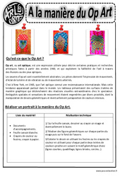 A la manière du op art - Art optique - Portraits - Arts visuels : 2eme, 3eme, 4eme, 5eme Primaire