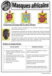 Masques africains - Arts visuels : 2eme, 3eme, 4eme, 5eme Primaire