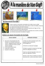 A la manière de  Van Gogh - Arts visuels : 2eme, 3eme, 4eme, 5eme Primaire