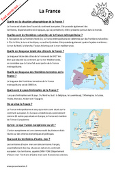 Comment expliquer la France- Fiches frontières naturelles, superficie...? : 6eme Primaire