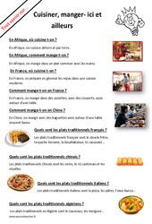 Que cuisinons et que mangeons nous ici et ailleurs? : 2eme Primaire