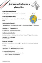 Comment se situer sur le globe ou le planisphère? : 2eme Primaire