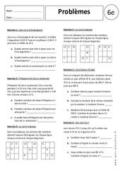 Problèmes - Additions - Soustractions - Calculs : 6eme Primaire