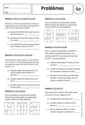 Additions - Soustractions - Problèmes - Exercices corrigés : 6eme Primaire