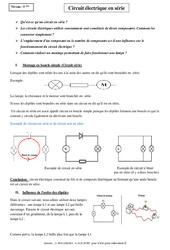 Circuit électrique en série - Cours - Physique - Chimie : 1ere Secondaire