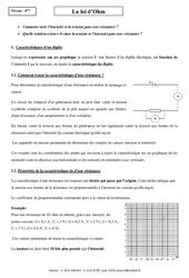 Loi d'Ohm - Cours - Physique - Chimie : 2eme Secondaire