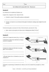 Volume - Masse de l'air - Exercices corrigés - Physique - Chimie : 2eme Secondaire