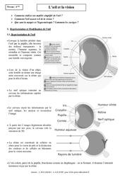 Œil - Vision - Cours - Physique - Chimie : 2eme Secondaire