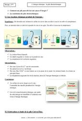 Energie chimique - Pile électrochimique - Cours - Physique - Chimie : 3eme Secondaire