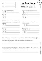 Additions - Opérations sur les fractions - Exercices corrigés : 1ere Secondaire