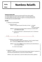 Nombres relatifs - Cours : 1ere Secondaire
