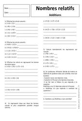 Additions - Nombres relatifs - Exercices corrigés : 1ere Secondaire