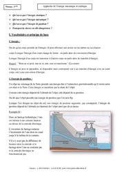 Energie mécanique et cinétique - Cours - Physique - Chimie : 3eme Secondaire